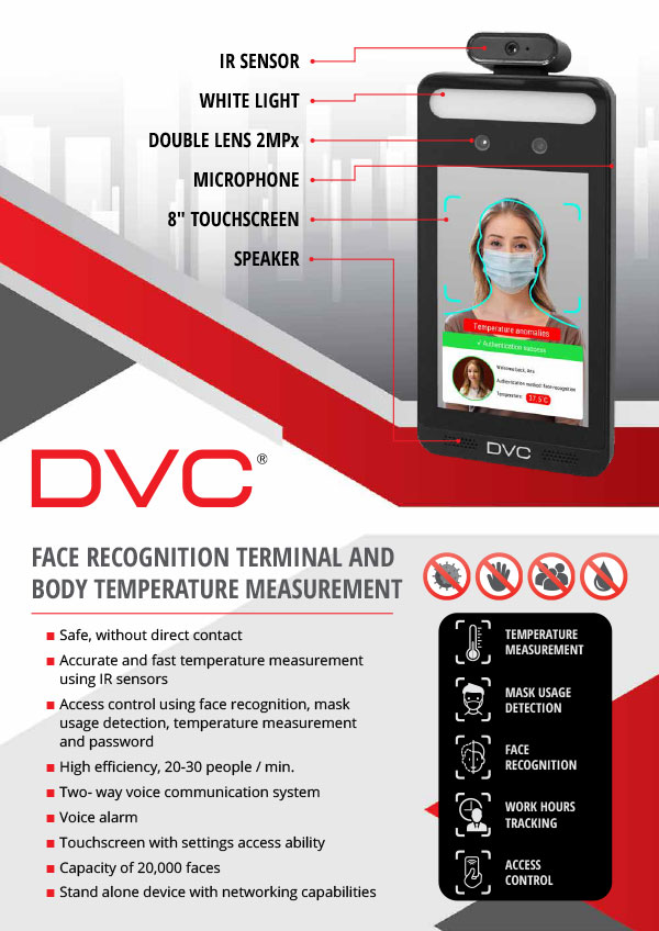 DVC Face Recognition and Body Temperature Measurement Terminal